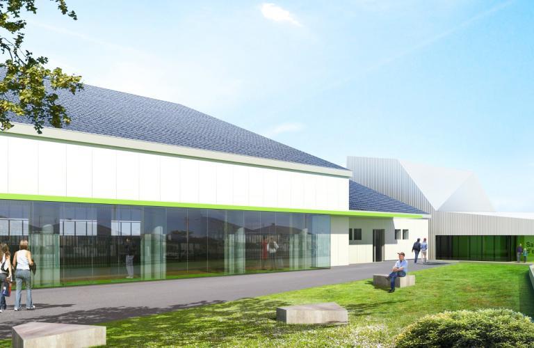 Projection de la future façade vitrée du gymnase Le-Fur.