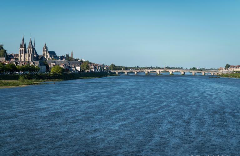 La Loire photographiée depuis le milieu du pont François-Mitterrand vers l'amont.