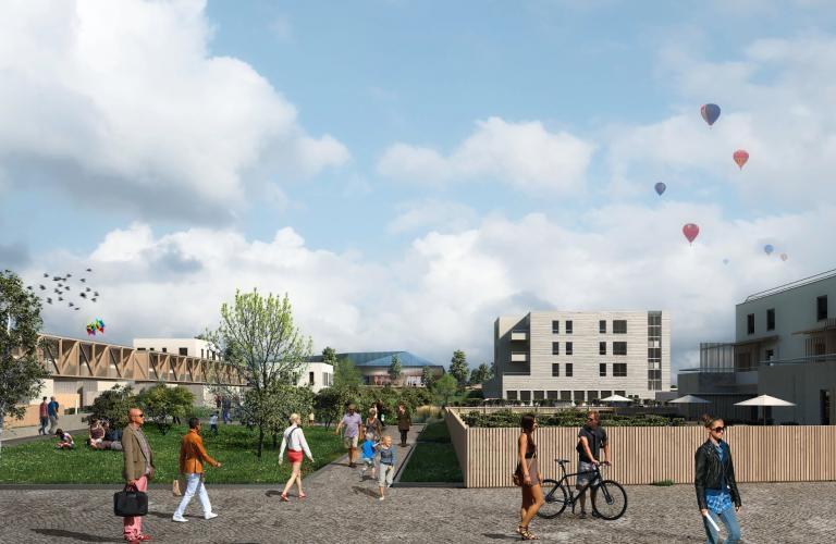 Projection du futur quartier Laplace, avec un jardin public, des maisons individuelles et des logements collectifs.