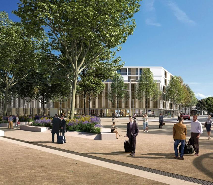 Projection du futur parvis delagare, désormais entièrement réservé aux circulations douces et végétalisé. De nouveaux bâtiments sont visibles en arrière-plan.