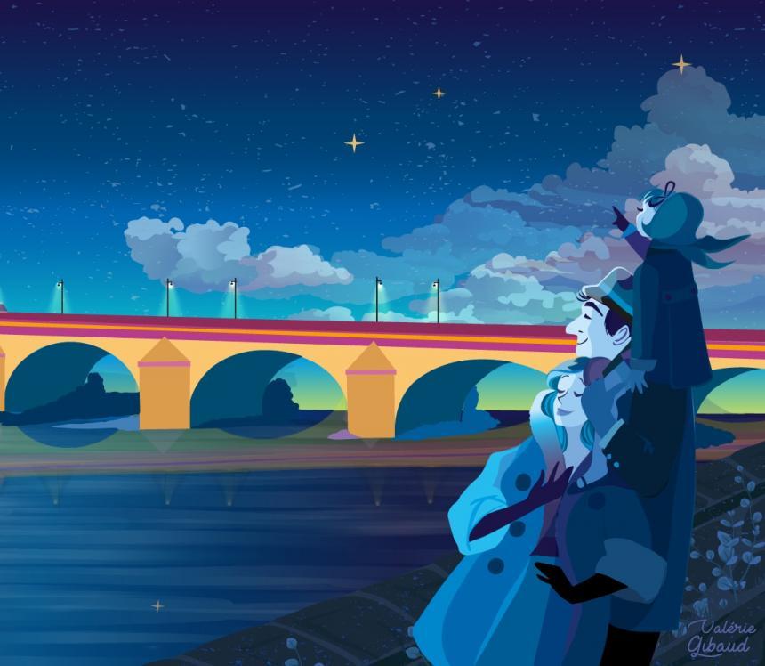 Illustration d'une famille contemplant le pont Jacques-Gabriel illuminé la nuit.