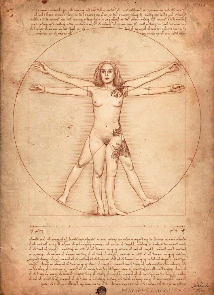 L'Homme de Vitruve, remplacé par une femme tatouée