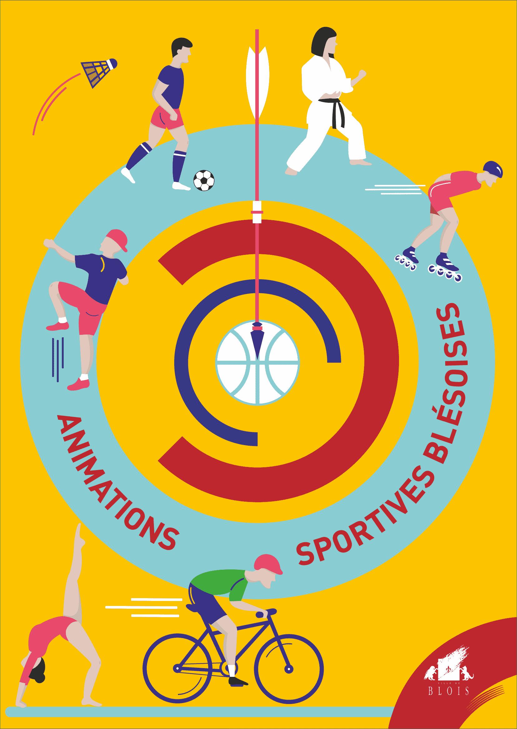 Des dessins représentants différents sports sont en couverture du catalogue des animations sportives blésoises.