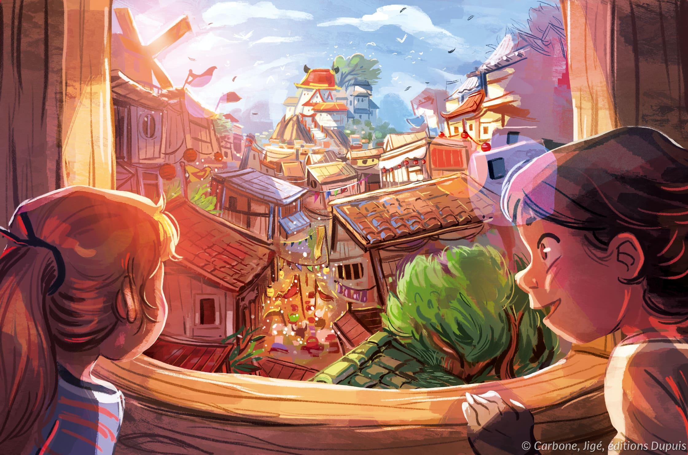 Dessin de Nola et Andrea contemplant les rues animées du village.