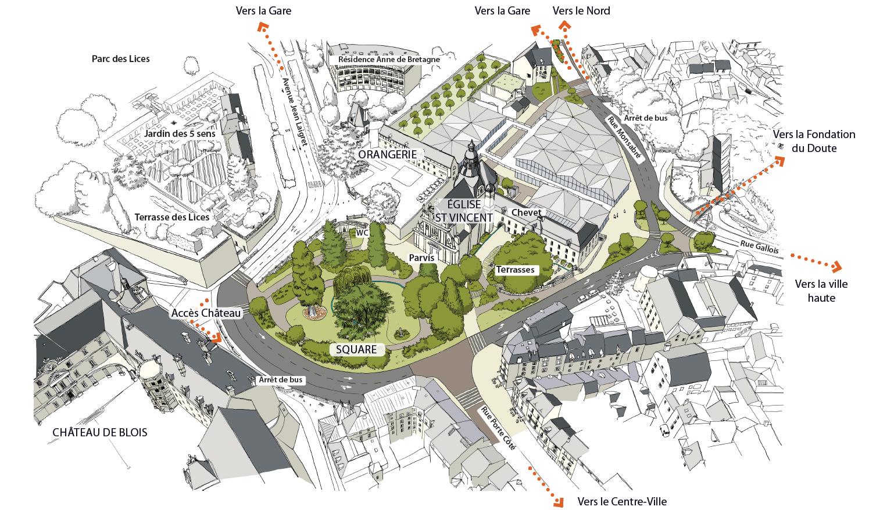 Projection d'ensemble du projet, de gauche à droite : le Château royal, le square Victor-Hugo, l'église Saint-Vincent (avec l'Orangerie à sa gauche et les terrasses à sa droite), l'espace du Carré Saint-Vincent et, enfin, la rue Monsabré.