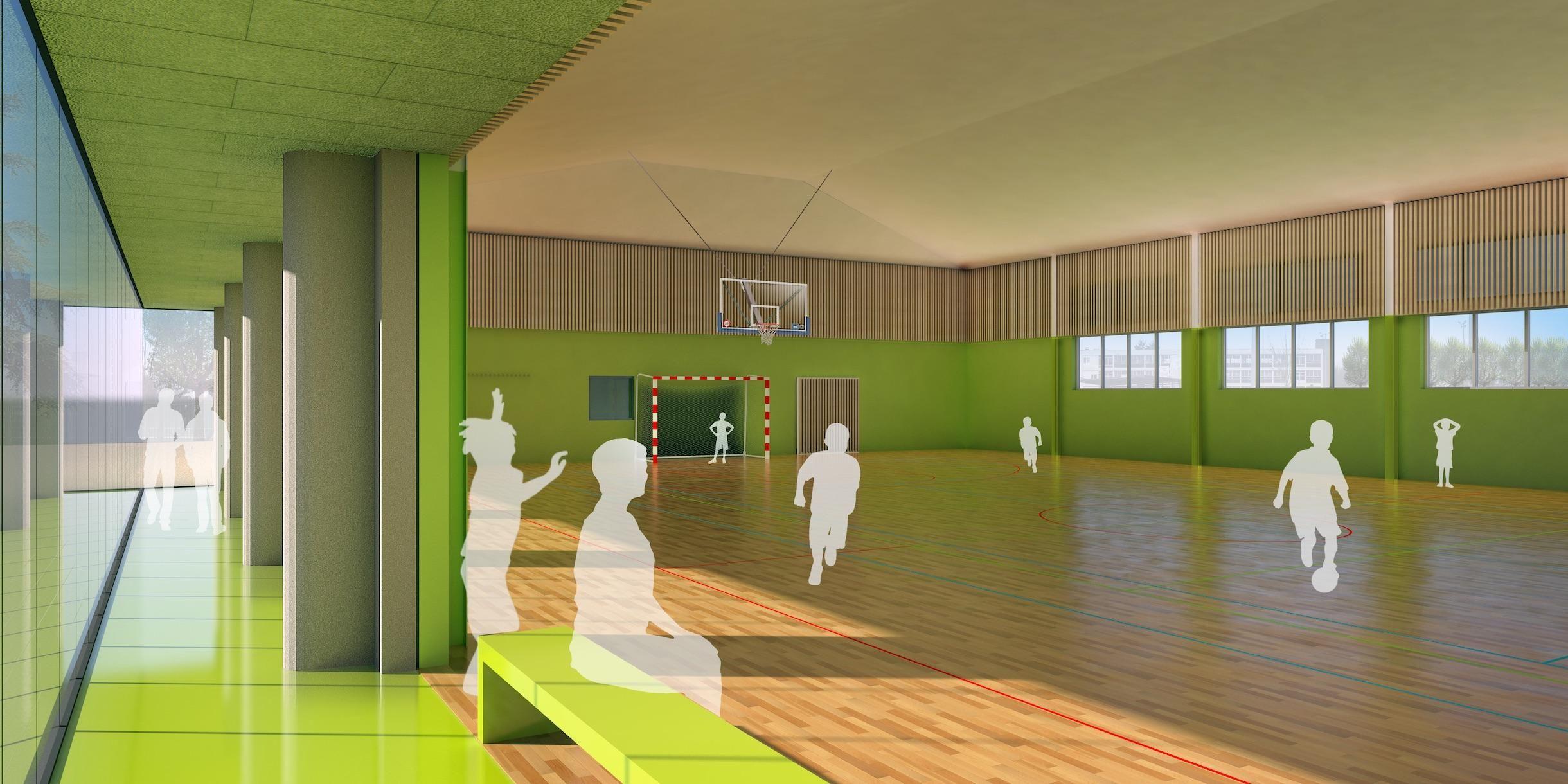 Projection de l'intérieur du futur complexe sportif, avec une immense baie vitrée inondant de lumière le nouveau terrain.
