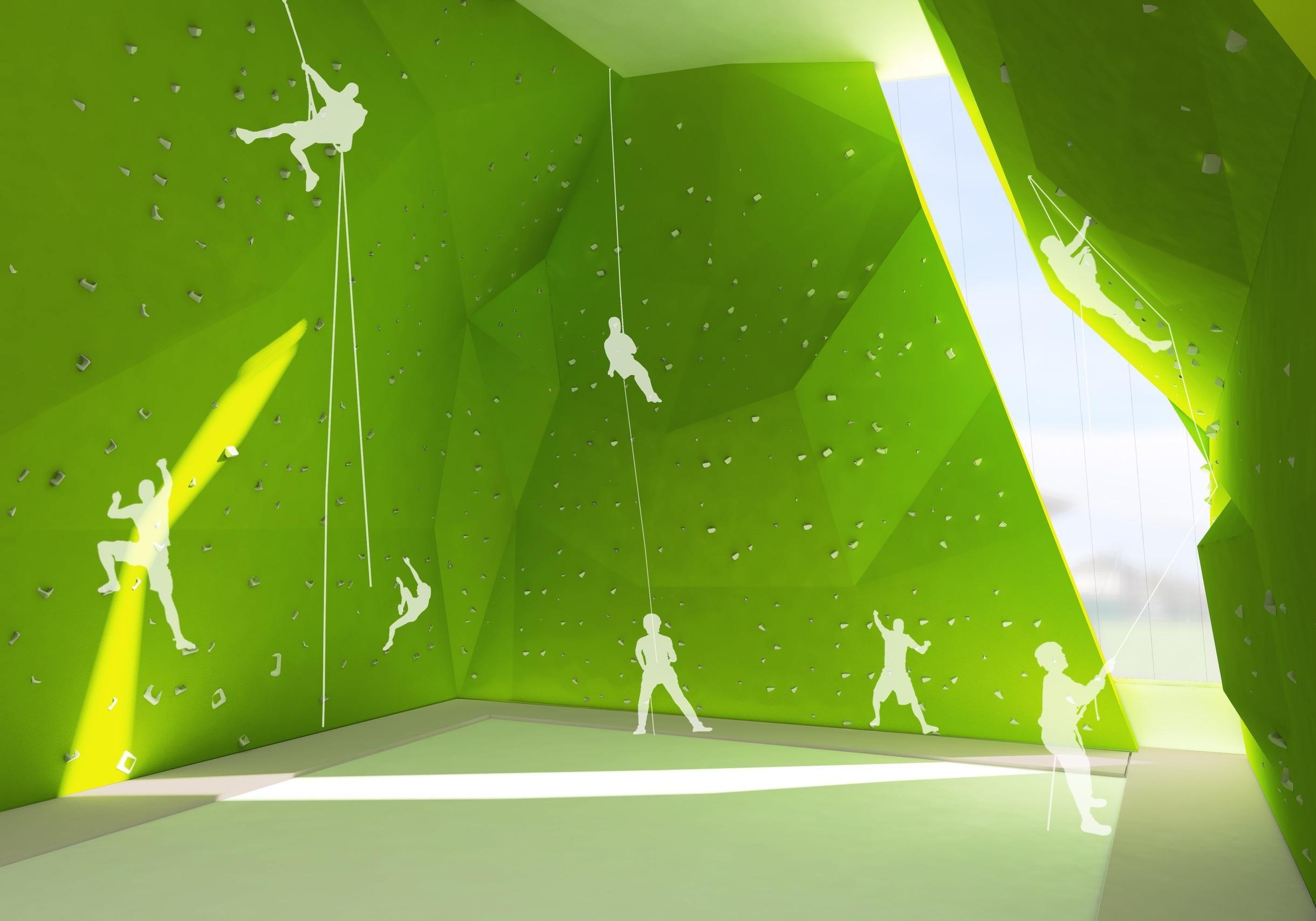 Projection de la future grande salle d'escalade. De nombreuses pistes sont visibles.