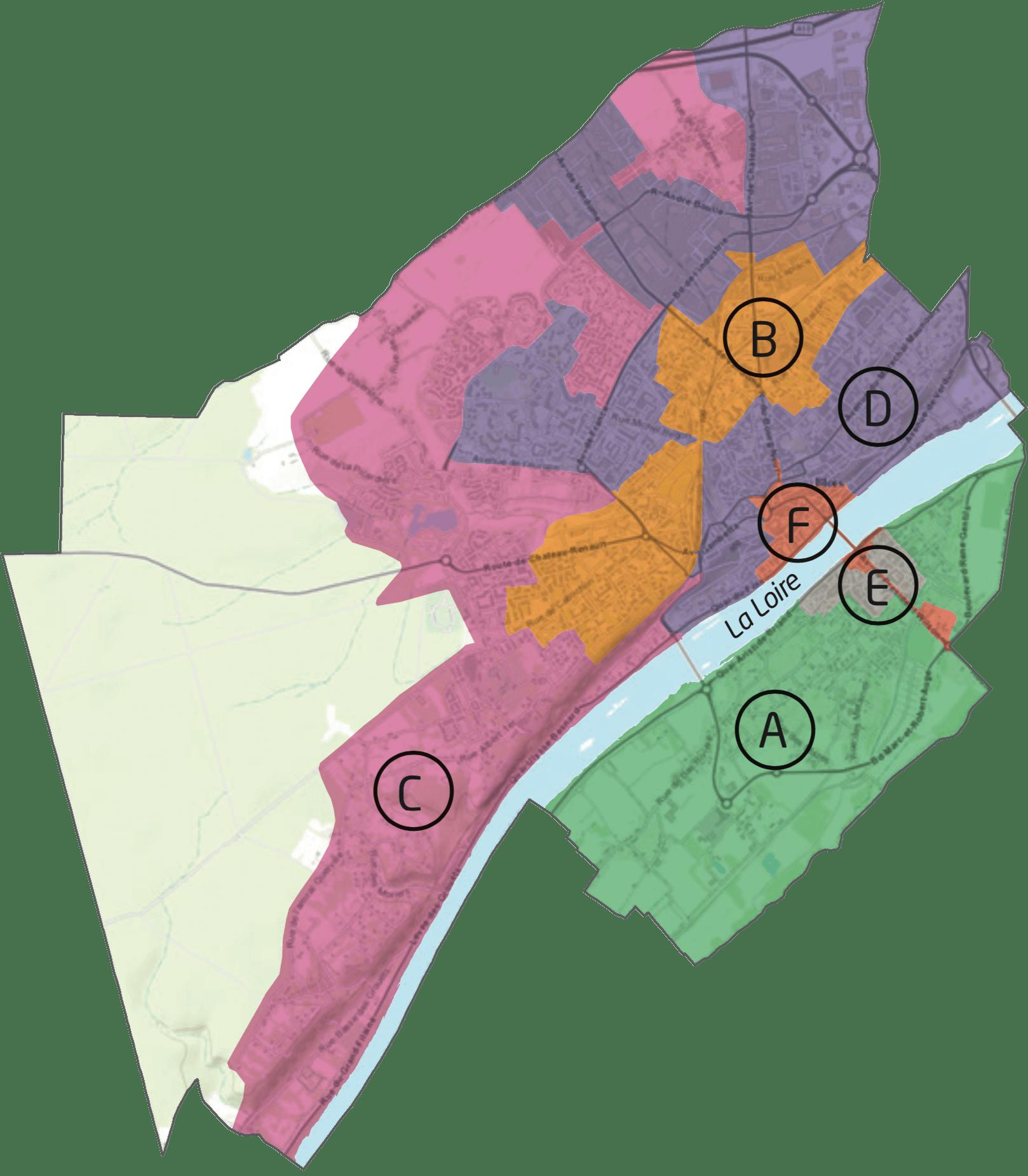 Carte découpant Blois en six secteurs ayant chacun leur propre jour de collecte des déchets. Pour connaître le jour de collecte dans votre rue sans carte, utilisez le formulaire de recherche d'Agglopolys mentionné précédemment sur cette page.