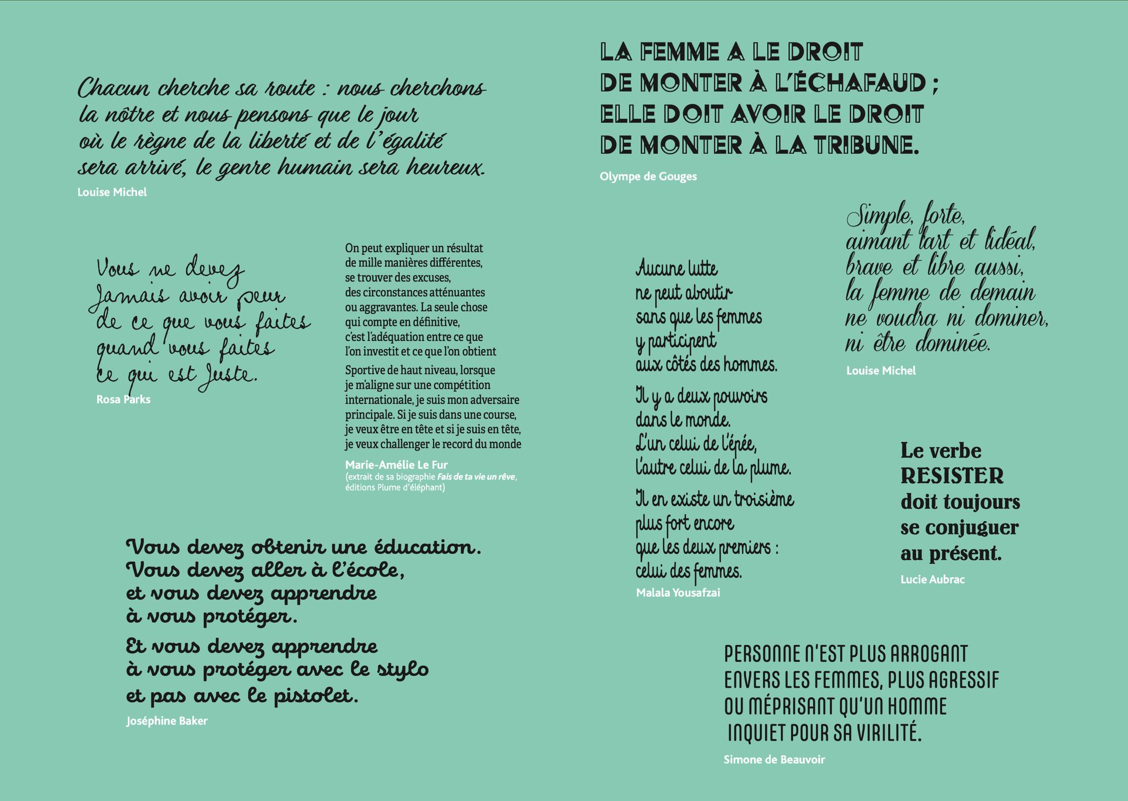 Citations de Louise Michel, Olympe de Gouges, Rosa Parks, Marie-Amélie Le Fur, Malala Yousafzai, Louise Michel, Lucie Aubrac, Joséphine Baker et Simone de Beauvoir, à retrouver dans la version PDF du programme 2020 de la semaine Elles.