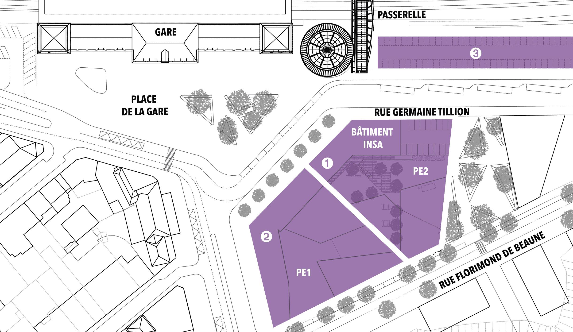 Plan montrant les différentes parcelles du projet à ce stade, avec les voies ferrés en haut de l'image et le parvis de la gare juste en dessous. Lorsque l'on fait face au parvis, les parcelles PE1 et PE2 sont sur la droite. PE1 étant la plus proche et PE2 étant juste après. Les deux donnent malgré tout sur le parvis.