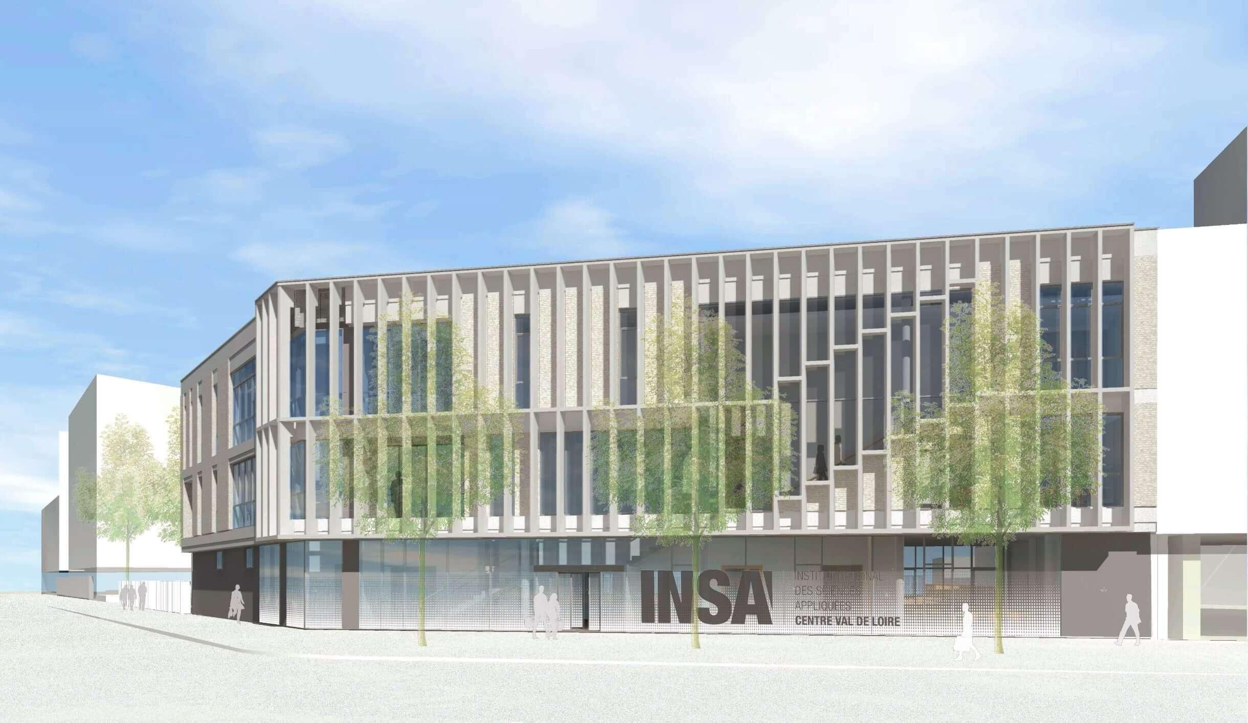 Projection du futur bâtiment de l'Insa, sur la parcelle PE2, qui fera face au parvis de la gare.