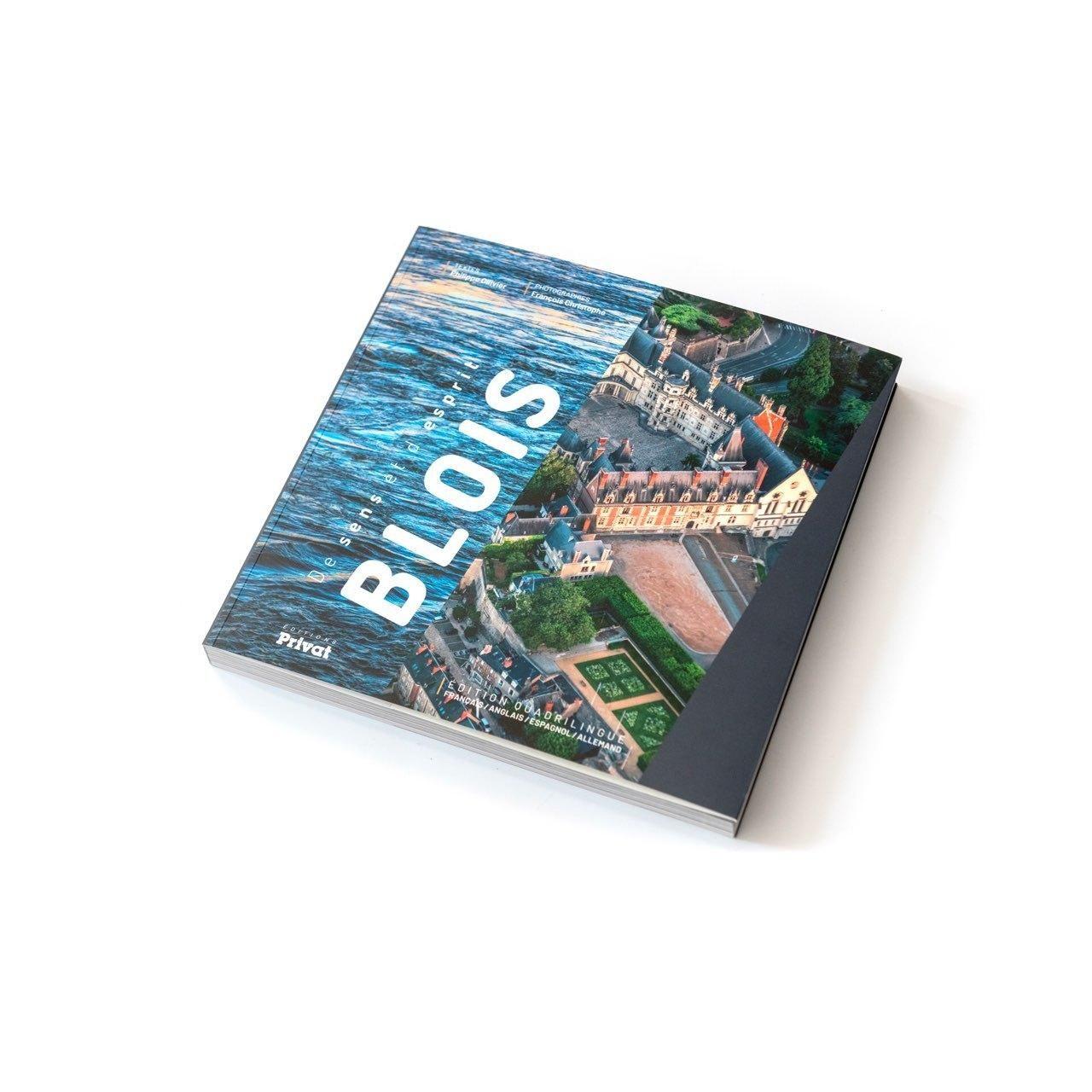Couverture du livre «Blois, de sens et d'esprit» : l'espace est divisé en deux photos. À gauche, un plan serré des reflets de la Loire, à droite, une vue aérienne du Château royal. Le mot Blois est écrit en grand entre les deux.