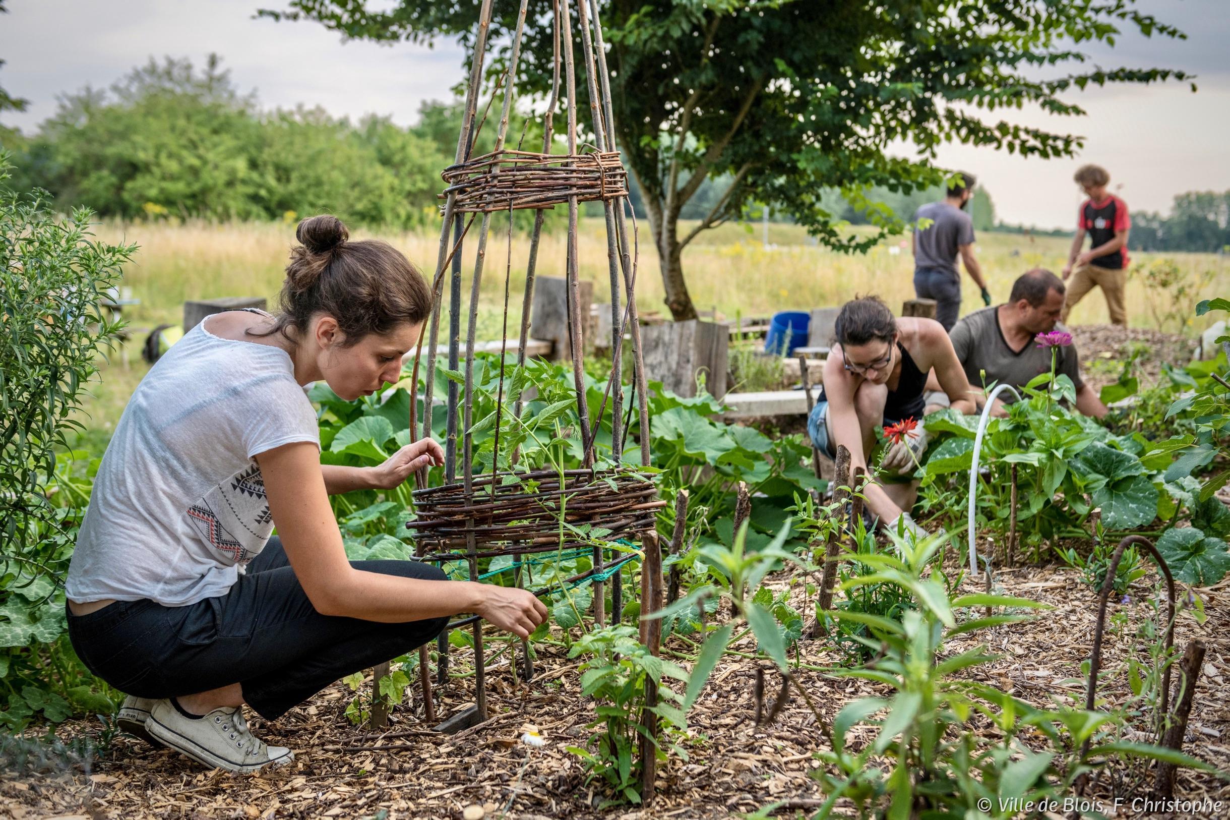Une partie du collectif des Métairies en train de jardiner.