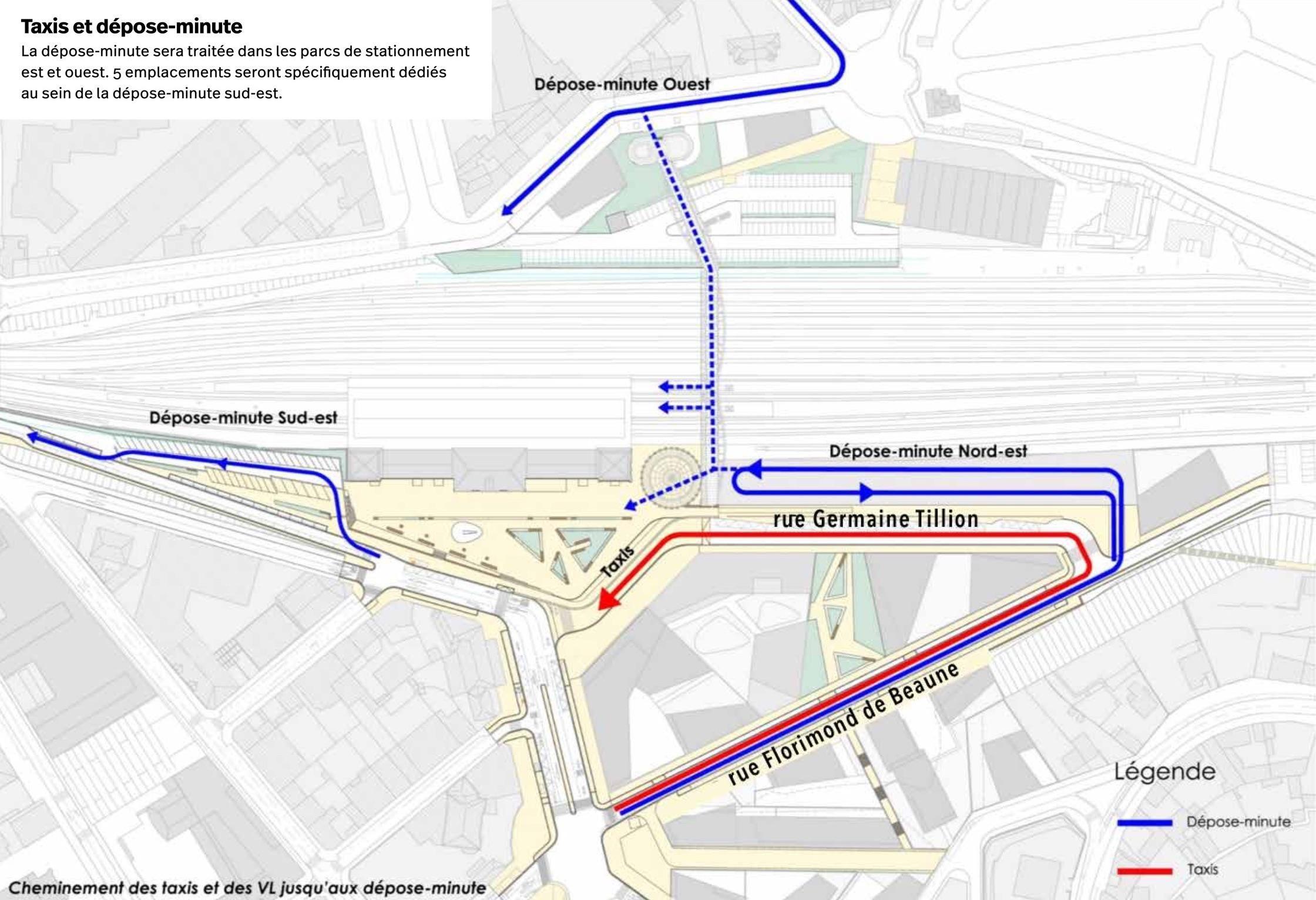 Plan des trois déposes-minute (un premier devant la passerelle rue Alfred-Halou, le deuxième près du boulevard Daniel-Dupuis et le troisième au nord de la rotonde de la passerelle, le long des quais).