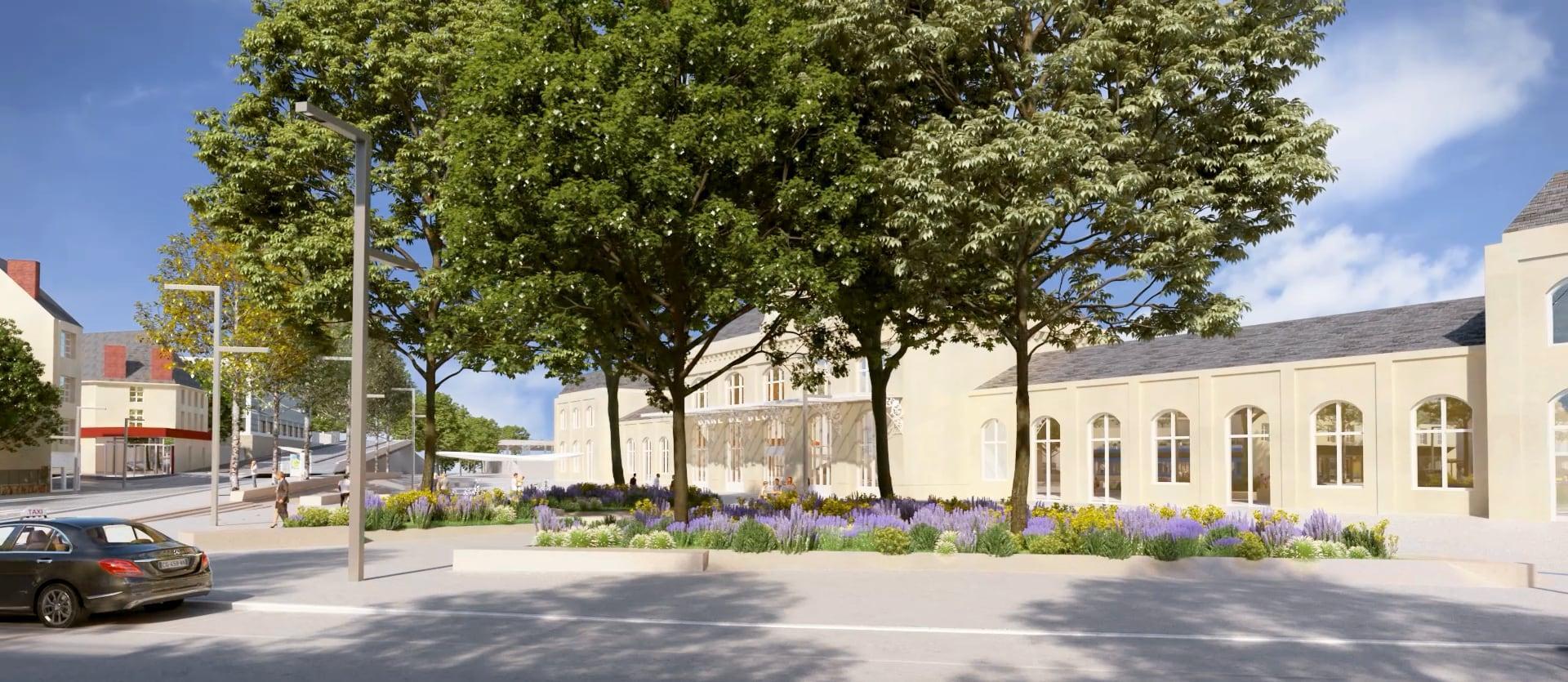 Projection du futur parvis delagare, désormais entièrement réservé aux circulations douces et végétalisé. La façade de la gare est visible en arrière-plan.