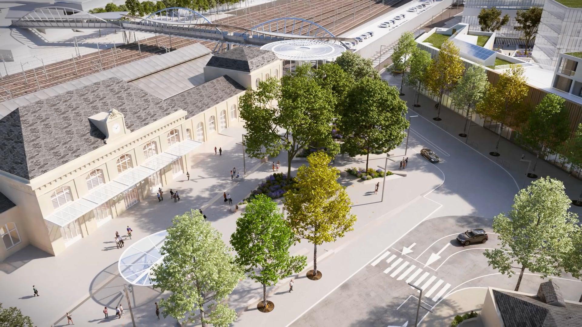 Projection aérienne du futur parvis delagare, désormais entièrement réservé aux circulations douces et végétalisé. De nouveaux bâtiments sont visibles en arrière-plan.