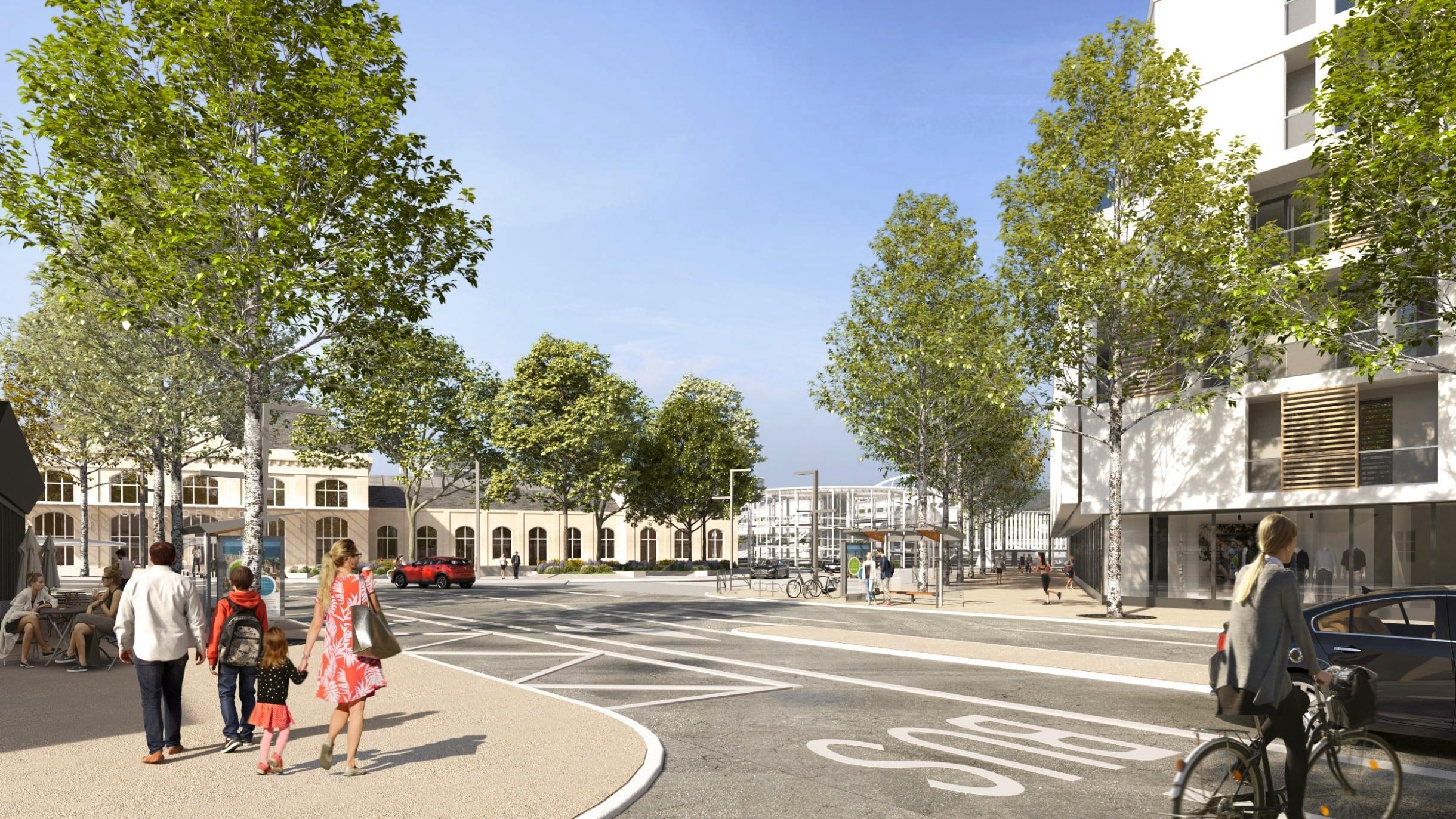 Projection du futur parvis de la gare depuis le carrefour de la Banque de France. De nouveaux bâtiments et de nombreux arbres sont visibles.