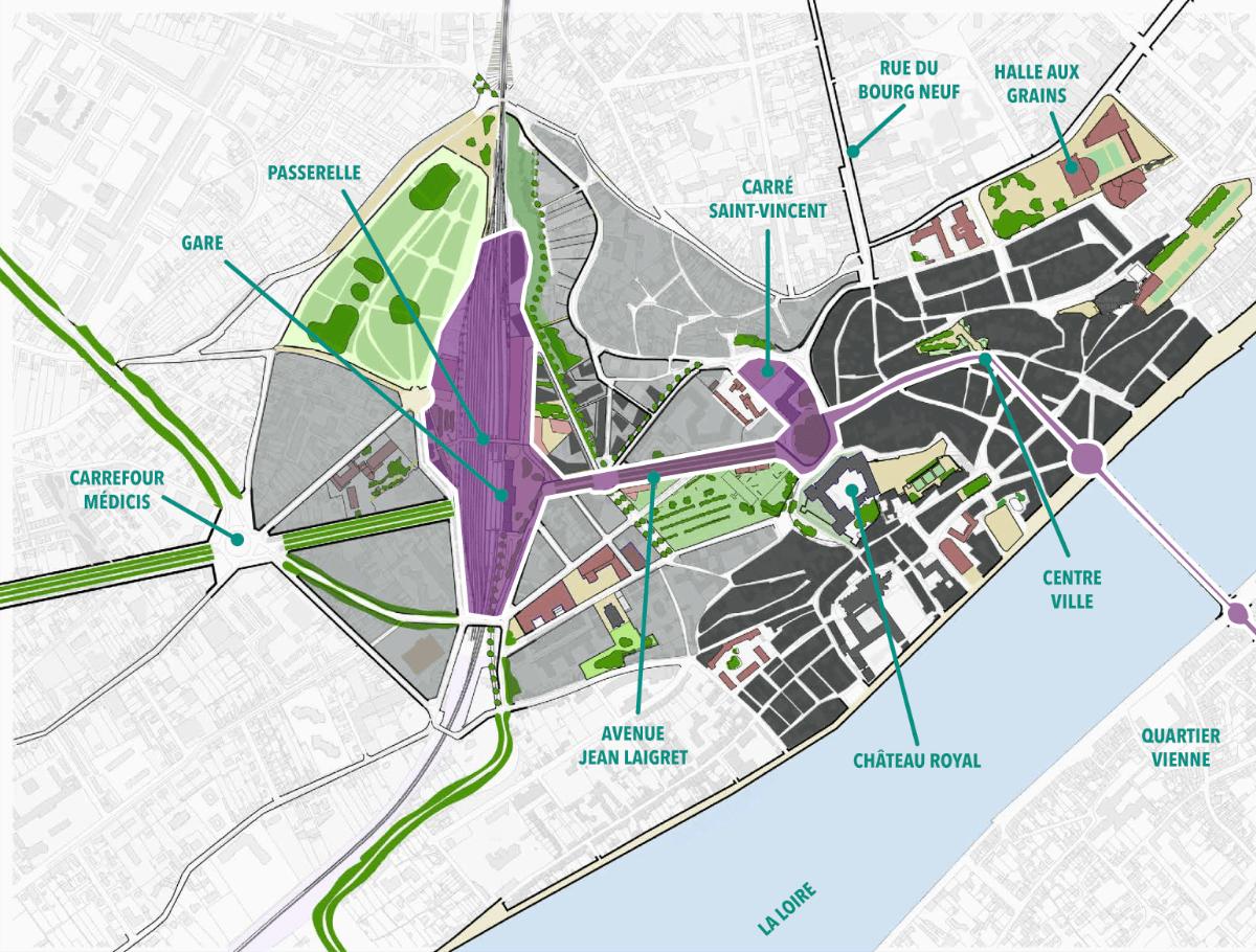 Plan de situation du quartier Gare, à la croisée des quartiers de la ville.