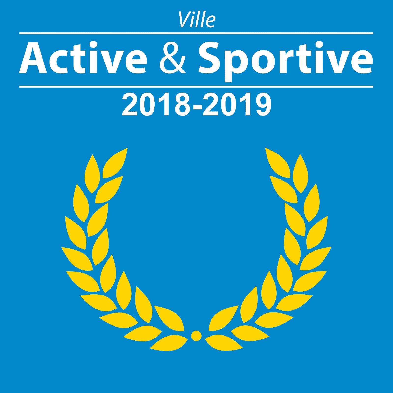 Logo du laurier «Ville active et sportive» pour les années 2018 et 2019.