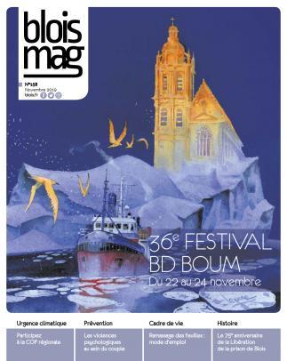 En couverture : un dessin de la Loire recouverte de glace, brisée par un navire, avec un iceberg en arrière-plan surmonté par la cathédrale Saint-Louis, vers laquelle des oiseaux s'envolent.