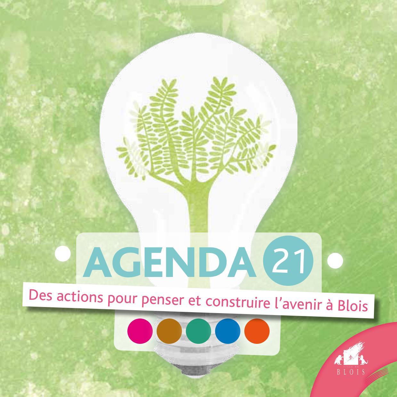 Couverture de l'agenda 21 de la Ville de Blois, représentant un arbre dans une ampoule.