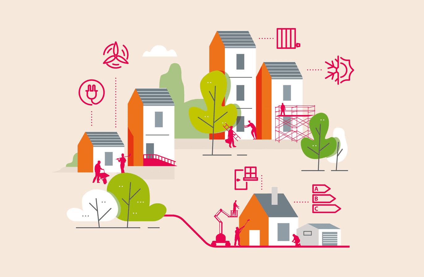 Illustration de maisons en cours de rénovation.