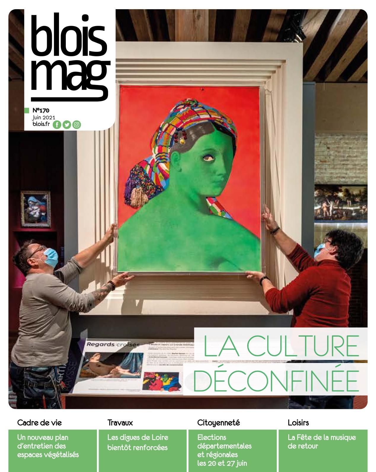 Encouverture: gros titre «La culture déconfinée», avec en photo deux agents du Château qui accrochent le célèbre tableau de Martial Raysse pour une nouvelle exposition au Château royal.