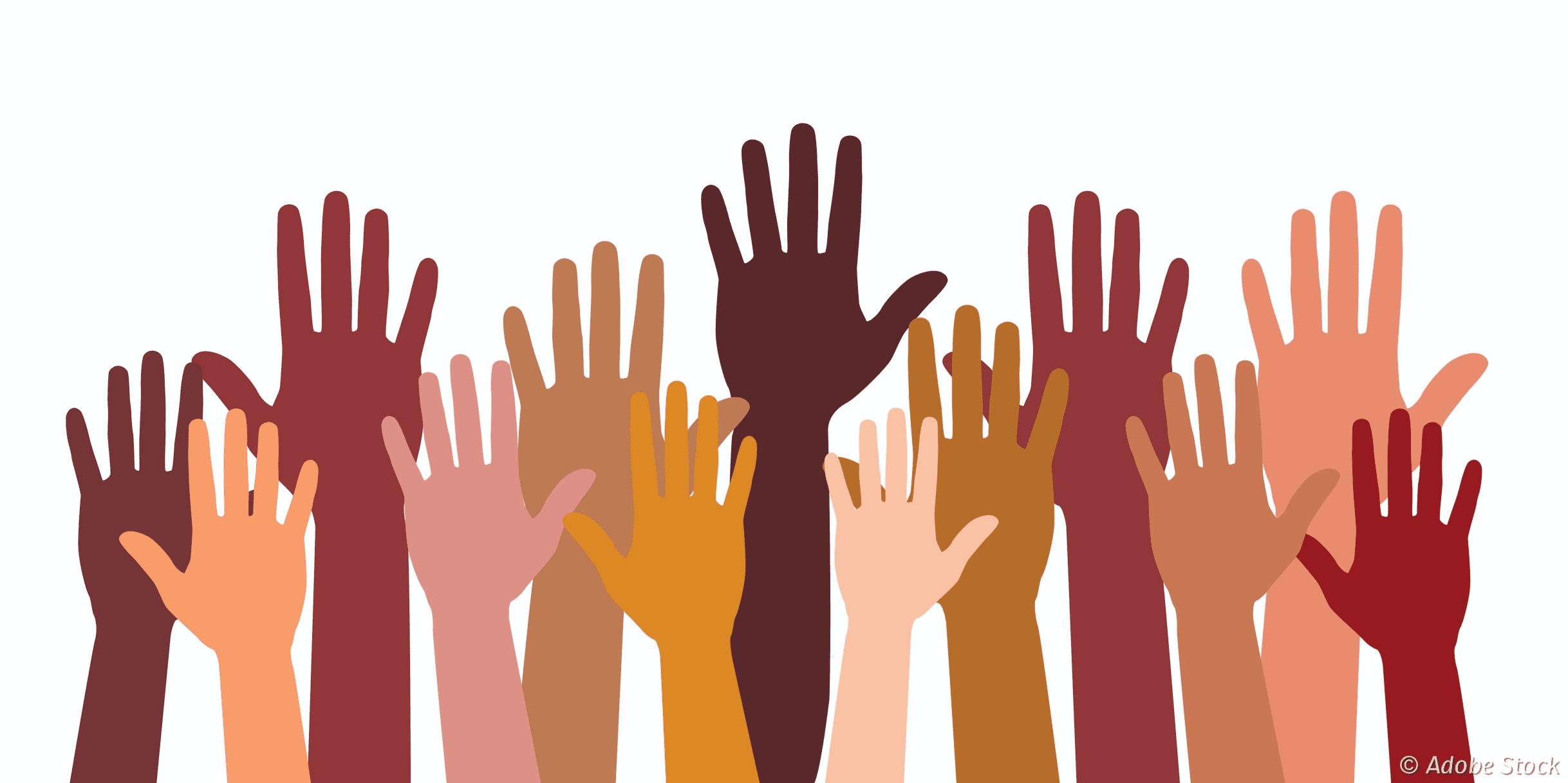 Illustration de mains de différentes couleurs levées en l'air.
